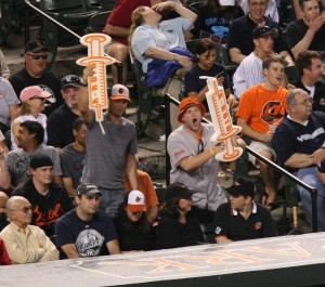 Some Orioles fans show what they think about A-Rod and his steroid use at a game against the Yankees (image courtesy of Flickr)
